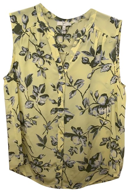 Item - Yellow with Light Blue/Green/White Flowers Sleeveless Blouse Size 0 (XS)