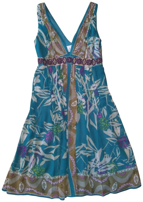 Nicole Miller Teal Short Casual Dress Size 2 (XS) Nicole Miller Teal Short Casual Dress Size 2 (XS) Image 1