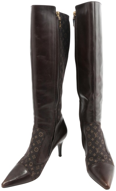 Item - Brown Monogram Leather Over The Knee Boots/Booties Size EU 38 (Approx. US 8) Regular (M, B)