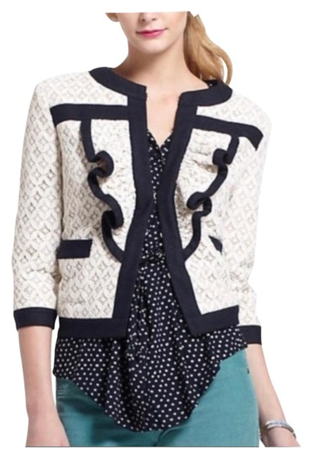 Anthropologie Ivory and Navy Lace Blazer Size 4 (S) Anthropologie Ivory and Navy Lace Blazer Size 4 (S) Image 1