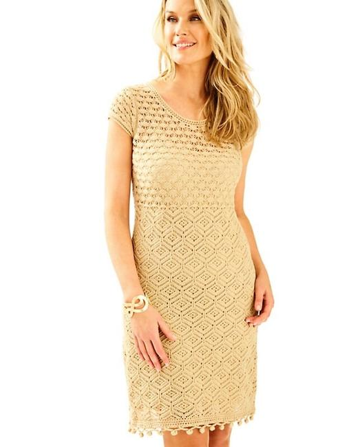 Item - Gold XS Paley Sweater Sleeve Crochet Metallic Short Casual Dress Size 2 (XS)