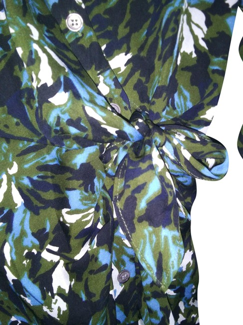 Item - Blue Green White Mid-length Short Casual Dress Size 2 (XS)