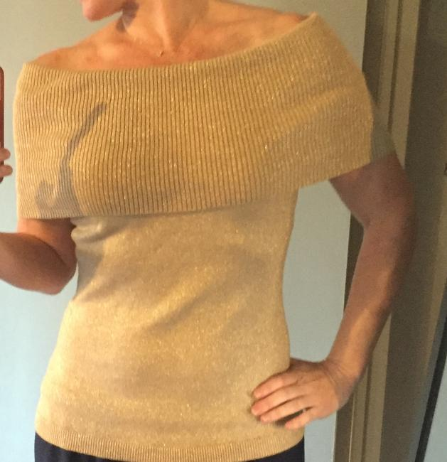 Express Off The Shoulder Holiday Sparkle Sexy Top Gold