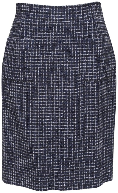 Chanel Blue Tweed Navy White Black Pencil Gunmetal 38 Skirt Size 6 (S, 28) Chanel Blue Tweed Navy White Black Pencil Gunmetal 38 Skirt Size 6 (S, 28) Image 1