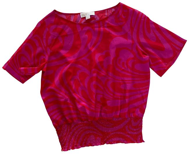 Item - Pink and Red Elastic Banded Medium Blouse Size 8 (M)