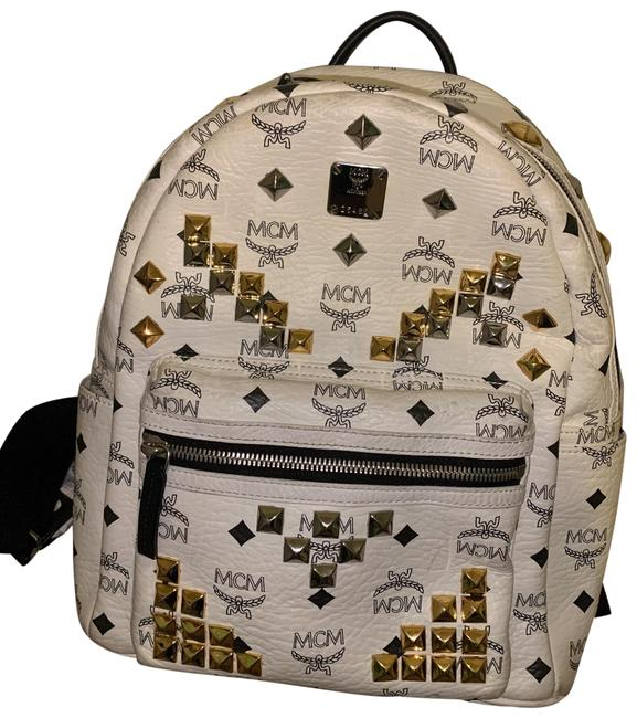 Item - Small M Stud (White) White Leather Backpack