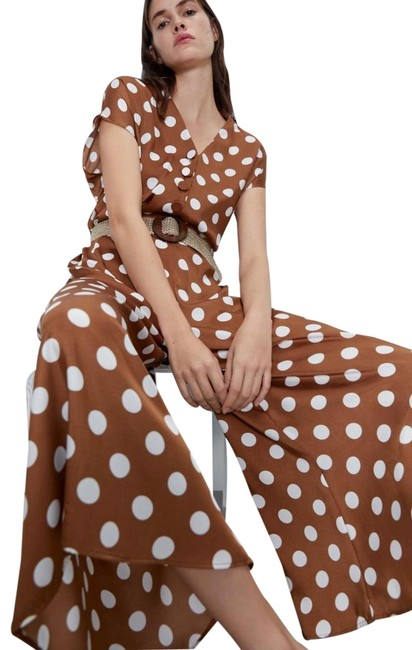 Item - Brown Polka Dot Capped Sleeve Button Front Wide Leg Romper/Jumpsuit