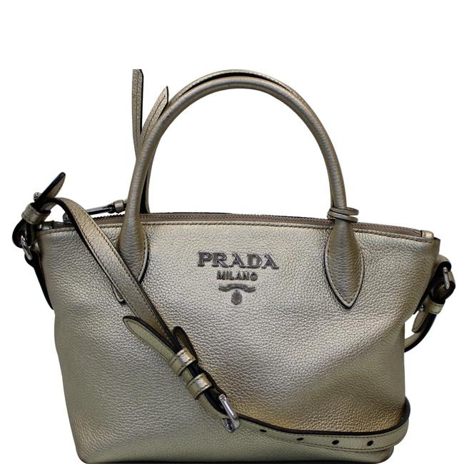 Item - Shoulder Bag Small Daino Metallic Silver Leather Tote