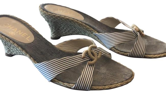 Item - Navy and Cream Stripe In Italy Sandals Size US 8 Regular (M, B)