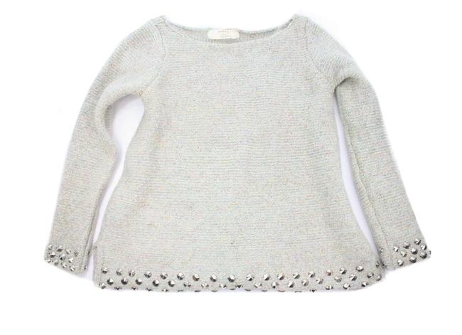 Item - Knit Studded Metallic Knit Size Large Silver Sweater