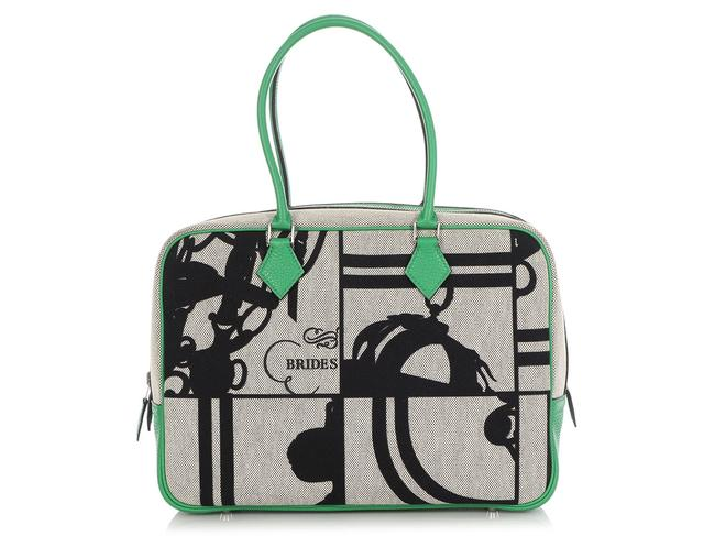 Hermès Plume 32 H En Desordre Canvas Toile And Green Leather Satchel Hermès Plume 32 H En Desordre Canvas Toile And Green Leather Satchel Image 1