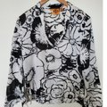 Tory Burch Black and White Floral Tunic Blouse Size 8 (M) Tory Burch Black and White Floral Tunic Blouse Size 8 (M) Image 1