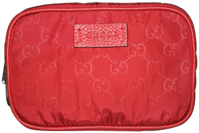 Item - Red #510338 Gg Nylon Canvas Travel Toiletry/ Cosmetic Bag