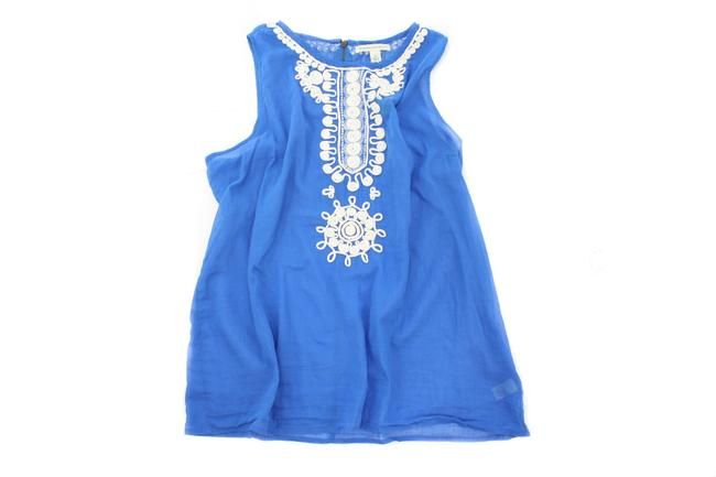 Item - Blue Cotton Embroidered Sleeveless Tank Top/Cami Size 14 (L)