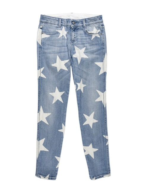 Item - Blue Medium Wash Denim Star Print Ankle Grazer Skinny Jeans Size 26 (2, XS)