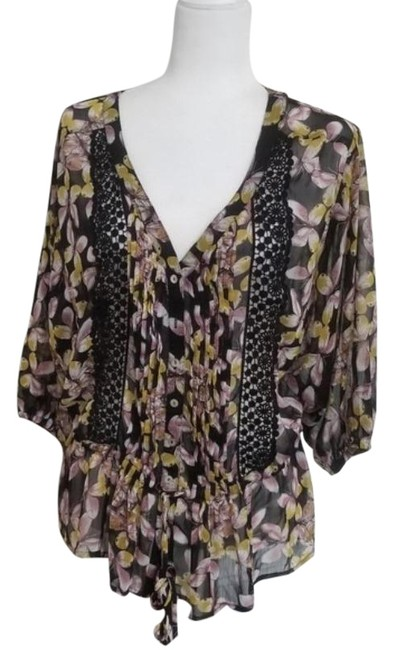 Item - Purple Yellow Casual Tops Blouse Size 8 (M)
