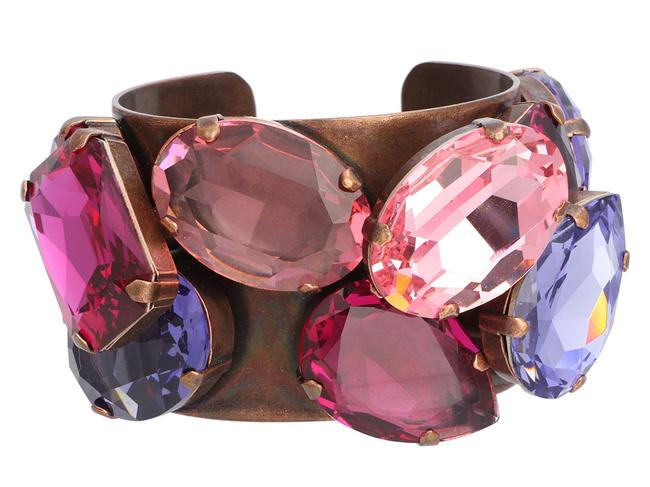Item - Pink And Purple Strass Crystal and Brass Cuff Bracelet