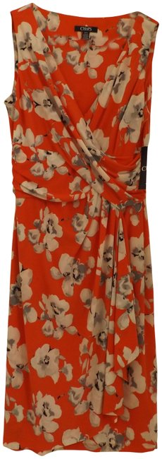 Item - Tangerine with Black and Gray Floral Mid-length Work/Office Dress Size 8 (M)