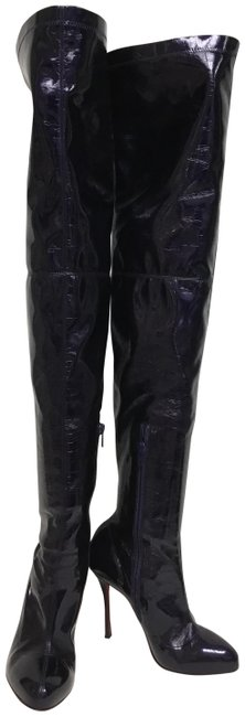 Item - Violet Mirror Stretch Patent Leather Thigh High Boots/Booties Size EU 37.5 (Approx. US 7.5) Regular (M, B)