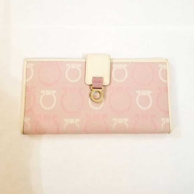 Item - Pink/White Continental Canvas Leather Wallet