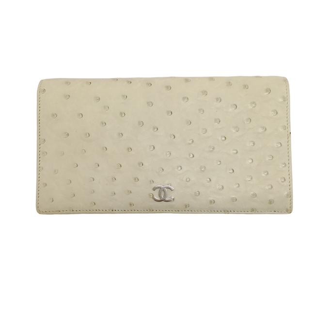 Item - Ivory Ostrich 2006 Long Fold Over Wallet