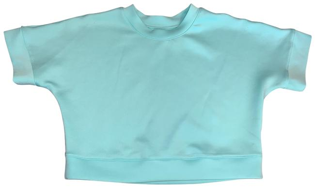 Item - Teal Cropped Shirt-sleeve Sweatshirt Activewear Top Size 8 (M)