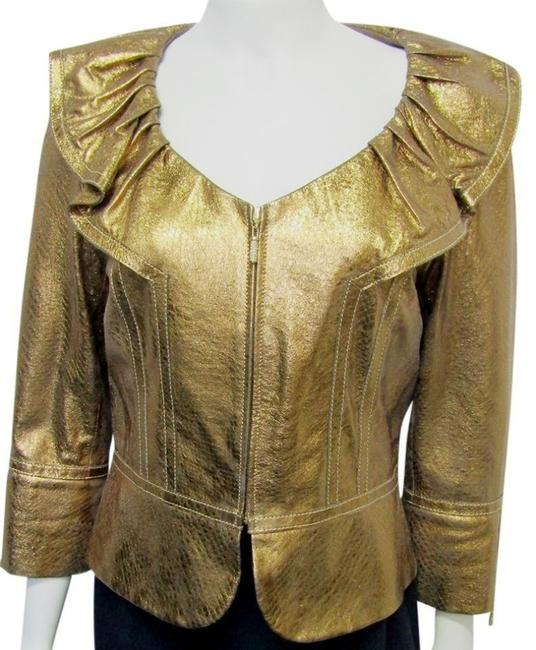 Item - Gold Couture Metallic Ruffle Floral Small Petite Jacket Size 2 (XS)