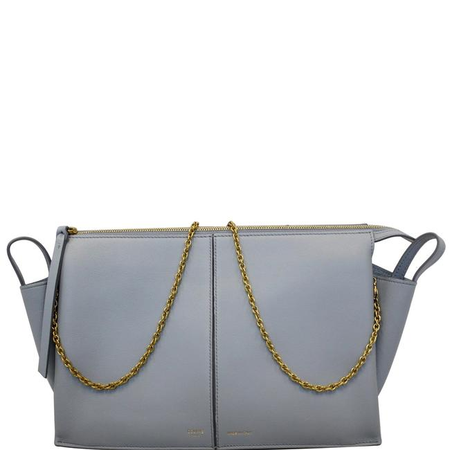 Item - Crossbody Trifold Smooth Chain Blue Leather Clutch