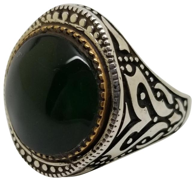 Item - Green Chalcedony Tribal Design Sterling Silver Hand Crafted Mens Ring