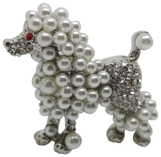 Item - Silver White Red Silver-tone Faux Pearl Austrian Crystal Poodle Pin Brooch