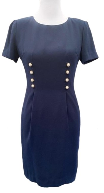 Item - Blue 90s Navy Pearl Button Sheath Career Mid-length Work/Office Dress Size Petite 2 (XS)