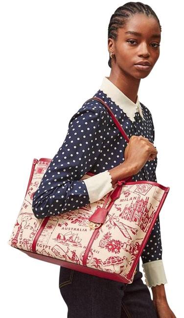 Item - Perry Triple Compartment Printed Red Destination Canvas/Leather Tote