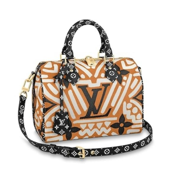 Item - Speedy Crafty Giant Monogram 25 Bondauliere Limited Edition Caramel Black White Coated Canvas Cross Body Bag