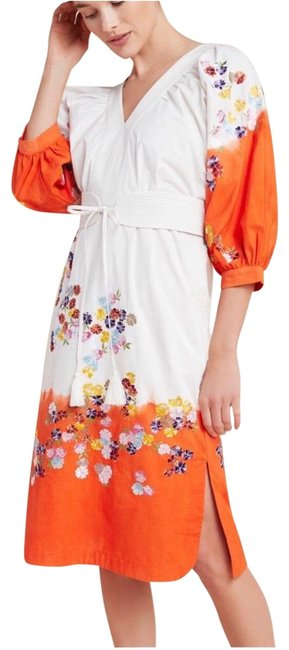 Item - White Orange Clemente Dip-dyed Mid-length Work/Office Dress Size Petite 2 (XS)