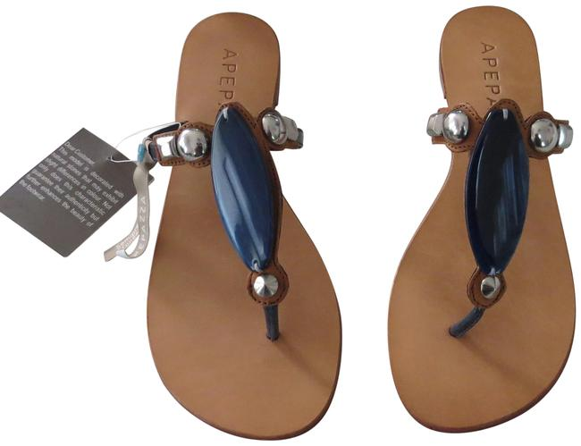 """Item - Navy """"Morgana"""" Stone and Stud Accented Leather Thongs Sandals Size EU 39 (Approx. US 9) Regular (M, B)"""