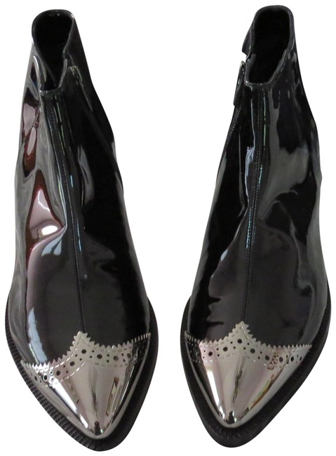 Item - Black Cap Toe Patent Leather Ankle Boots/Booties Size EU 40 (Approx. US 10) Regular (M, B)