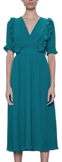 Item - Green Blue Pleated Midi Emerald Mid-length Casual Maxi Dress Size 12 (L)