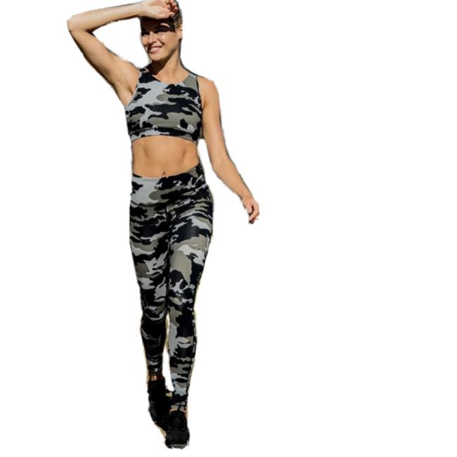 Item - Green L Aph2628 Jungle Camo High Rise Camouflage Yoga Activewear Bottoms Size 12 (L, 32, 33)