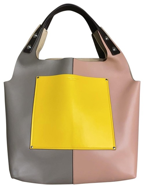 Item - Yellow Pink Light Grey Beige Leather Tote
