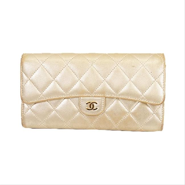 Item - Gold Long Matelasse Bifold Women's Lambskin Wallet