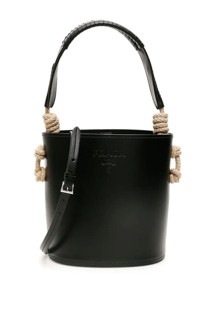 Item - Bucket Bag Cr with Rope Knots Black Leather Tote