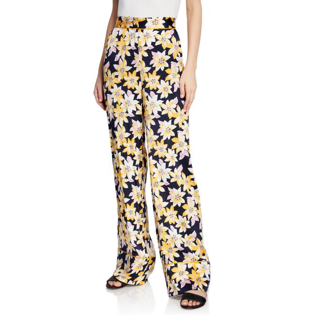 Cinq à Sept Navy Multi Margot Floral Silk Pants Size 4 (S, 27) Cinq à Sept Navy Multi Margot Floral Silk Pants Size 4 (S, 27) Image 1