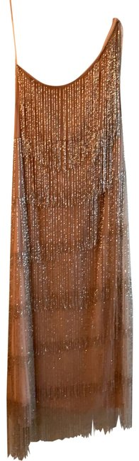 Item - Taupe Night Out Beaded Mid-length Cocktail Dress Size 14 (L)