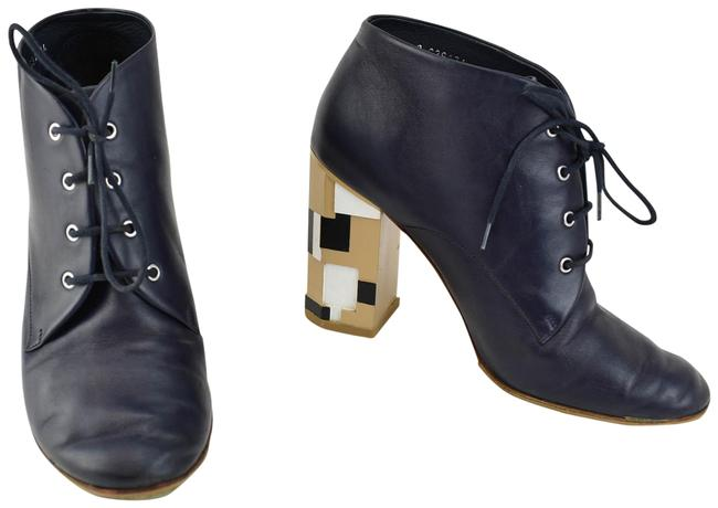 """Item - """"Runway"""" Navy Blue Leather """"Cc"""" Logo Ankle Boots/Booties Size EU 39.5 (Approx. US 9.5) Regular (M, B)"""