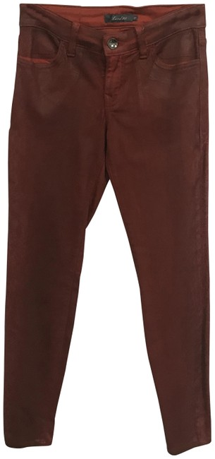 Item - Red Coated Hint Of Snakeskin Skinny Jeggings Size 27 (4, S)