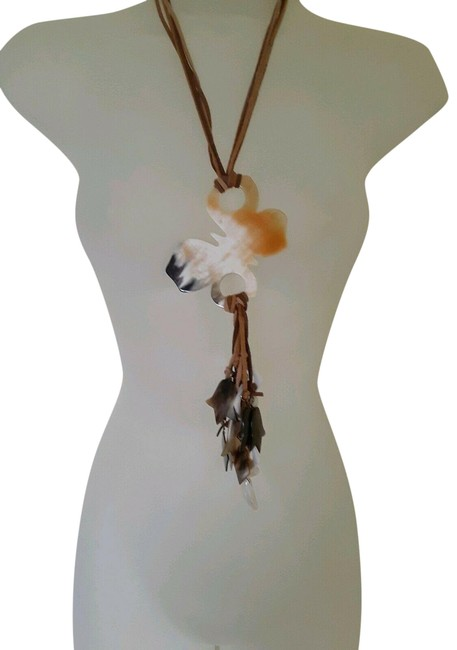Item - Shades Of Cream and Brown Butterfly Hanging Bone Mother Pearl Necklace