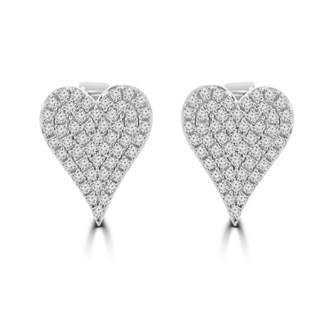 Item - 14k White Gold 0.25 Ct Heart Shaped Diamond Stud Earrings