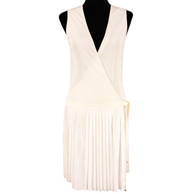 Item - White Pleated Drop Waist Wrap Belted Mid-length Short Casual Dress Size 8 (M)