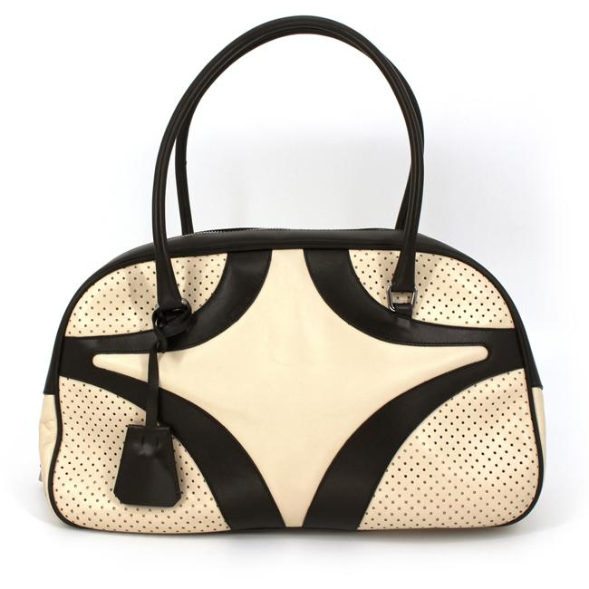 Item - Vitello Drive Perforated Bowler Gesso White/Brown Leather Shoulder Bag