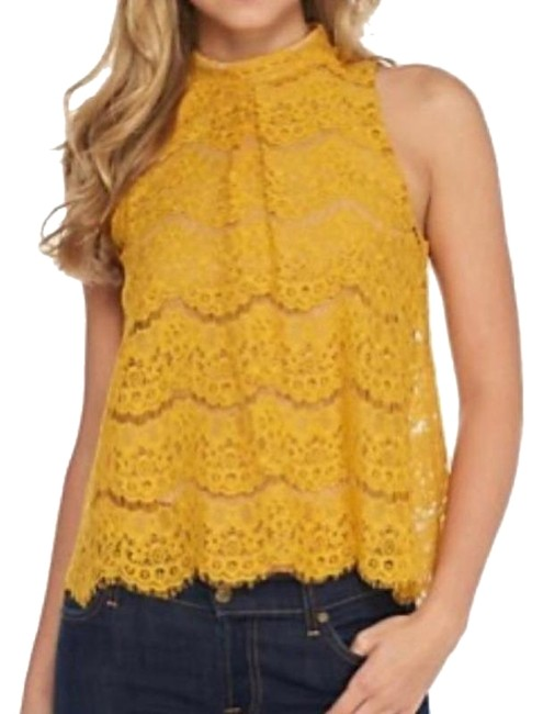 Love, Fire Yellow Gold Lace Halter Top Size 4 (S) Love, Fire Yellow Gold Lace Halter Top Size 4 (S) Image 1